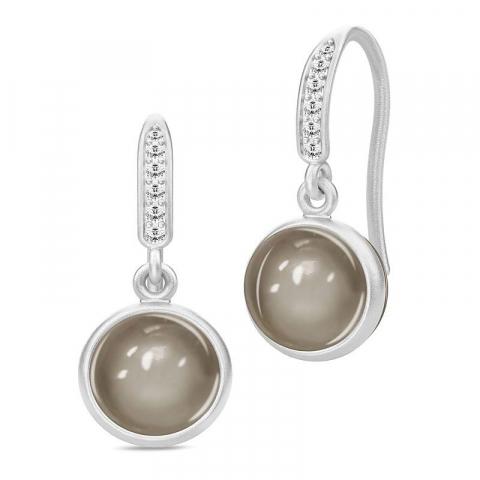 Schöne Julie Sandlau runden Mondstein Ohrringe in Satinrhodiniertes Sterlingsilber grauen Mondsteinen weißen Zirkonen