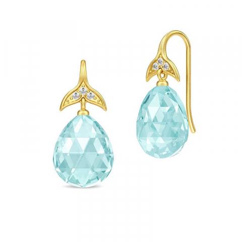 Modernen Julie Sandlau Tropfen blauem Bergkristall Ohrringe in vergoldetem Sterlingsilber blauen Bergkristallen weißen Zirkonen