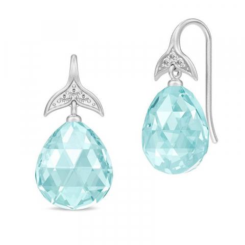 Schöne Julie Sandlau Tropfen blauem Bergkristall Ohrringe in Satinrhodiniertes Sterlingsilber blauen Bergkristallen weißen Zirkonen