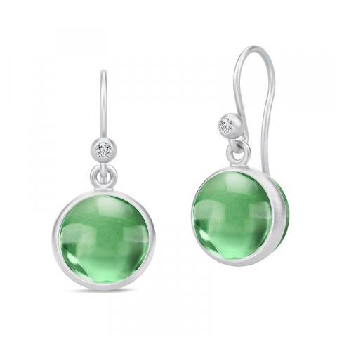 Modernen Julie Sandlau runden grünen Ohrringe in Satinrhodiniertes Sterlingsilber grünen Bergkristallen weißen Zirkonen