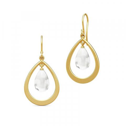 Modernen Julie Sandlau tropfenförmigen Bergkristall Ohrringe in vergoldetem Sterlingsilber weißen Bergkristallen